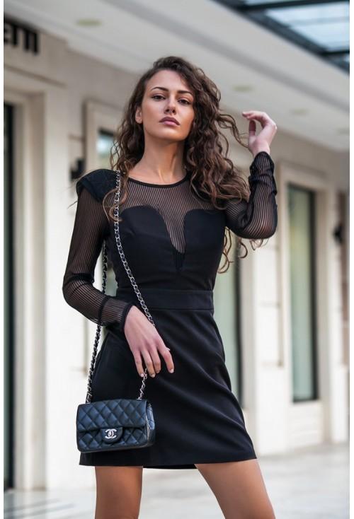 Μίνι Φόρεμα Με Ριγέ Διαφάνεια