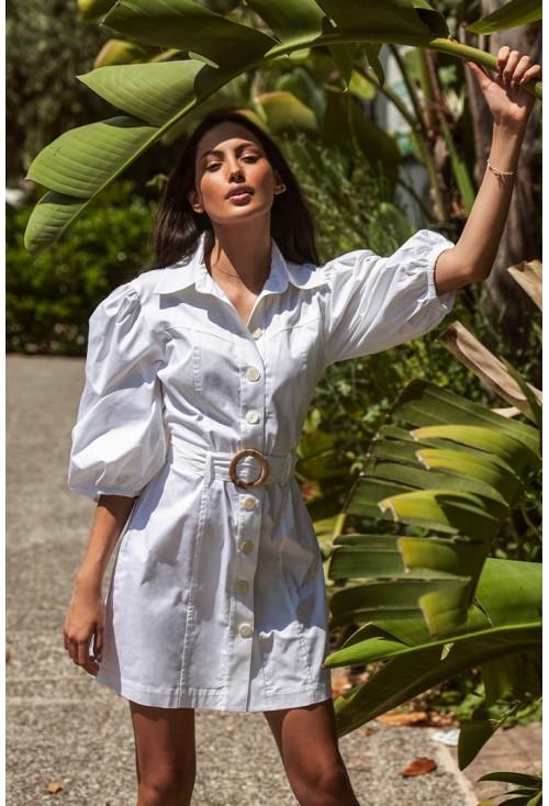 Μίνι Λευκό Φόρεμα Στυλ Πουκάμισο